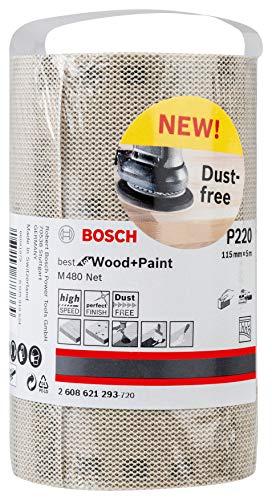 Bosch Professional 2608621294 Rollo de Lija M480 Best for Wood and Paint, Madera y Pintura, Grano P240, Accesorios para Lijado a Mano, 0 W, 0 V, 115 x 5000 mm
