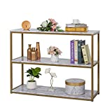 3-Tier Console Table with White Marble Top, Faux Marble...