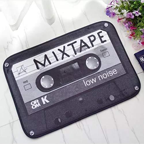 N/A Tapete de Cocina de baño de Cassette de Cinta de Mezcla Retro, Alfombra de Entrada de Casete Divertida Divertida, Alfombra para Estudio de música, Alfombrillas para el Suelo, decoración del hogar