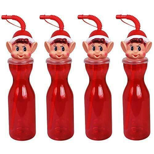 Guaranteed4Less Kids Novelty Christmas Drinking Bottle Santa Claus Naughty Elf Snowman Straw Toy (Elf, 4)