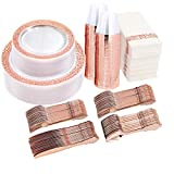 I00000 350 Pieces Rose Gold Dinnerware Set-100 Clear Rose Gold Lace Plastic Plates-150 Rose Gold Plastic Silverware-50 Rose Gold Disposable Cups-50 Linen Like Paper Napkins