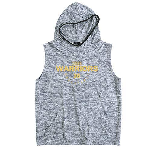 BHZY Warriors Stephen 30# - Sudadera con capucha para hombre con capucha, transpirable, de secado rápido, sin mangas, con capucha, S-2, color gris oscuro