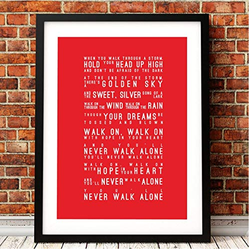 xmydeshoop Si'Ll Never Walk Alone Texts Canvas Art Print Poster Liverpool Football Club Canvas Paint