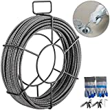 Mophorn Drain Cleaning Cable 100 Feet x 1/2 Inch Solid Core Cable Sewer Cable Drain Auger Cable Cleaner Snake Clog Pipe Drain Cleaning Cable Sewer Drain Auger Snake Pipe