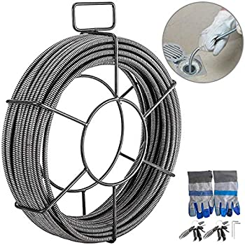 Mophorn Drain Cleaning Cable 100 Feet x 3/8 Inch Solid Core Cable Sewer Cable Drain Auger Cable Cleaner Snake Clog Pipe Drain Cleaning Cable Sewer Drain Auger Snake Pipe