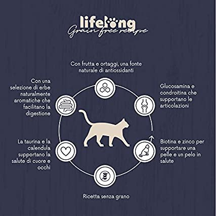 Marchio Amazon – Lifelong – Alimento secco completo per gatti con salmone fresco. Ricetta senza grano – 1,5 kg