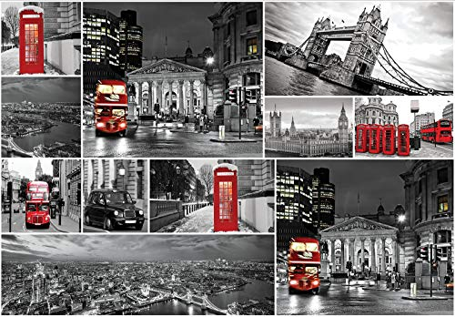 Forwall Fototapete Vlies Tapete Wanddeko London - Doppeldecker Bus Rot Taxi Big Ben Underground Skyline Moderne Wanddekoration 10459VEM 104cm x 70,5cm Schlafzimmer Wohnzimmer