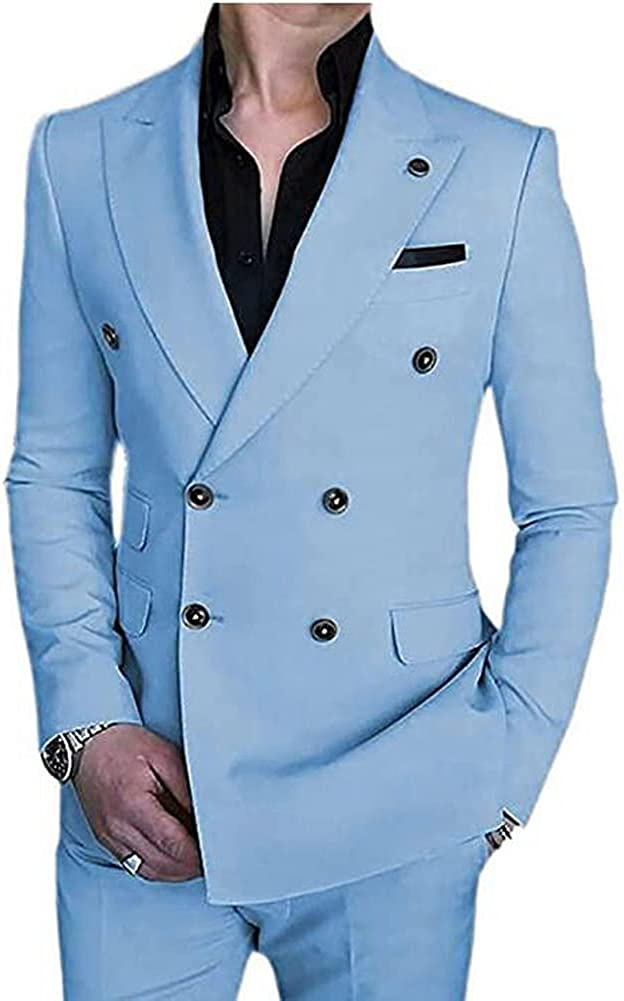 TOPG Men's 2 Pieces Double Breasted Suits Formal Slim Fit Business Suits Wedding Suits Prom Tuxedos