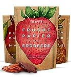 Getrocknete Früchte als 3er Set Fruchtpapier (3x 40g) – Frucht Snack aus Ananas, Apfel, Mango, Erdbeere luftgetrocknet