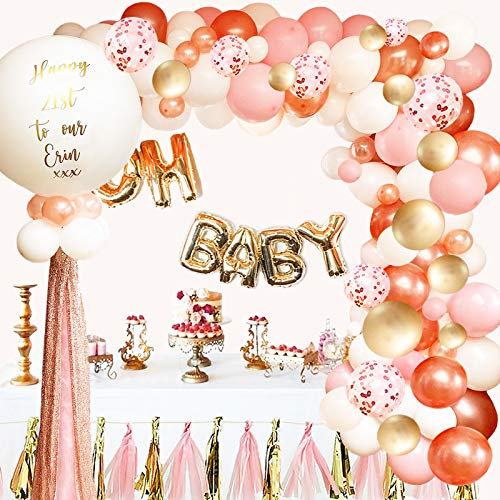 Rose Gold Balloon Garland Arch Kit  124 Pieces/PCS Rose Gold Pink White and Gold Confetti Latex Balloons for Baby Shower Wedding Birthday Graduation Anniversary Party Background Decorations