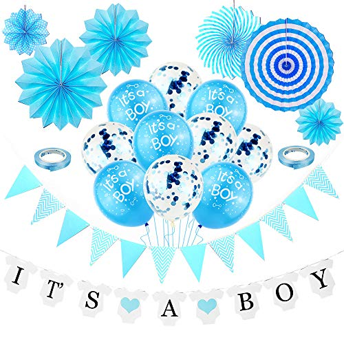 Cojoy Babyparty Party Dekoration, It's A Boy Banner und Latex Ballons, Blaue Wimpelkette, 6 pcs Papierfächer, 5 Stück Luftballons mit innerem Konfetti für Baby Boy Party