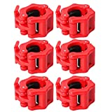 SONSYON Gym Weights Barbell - 6 Piezas Collares De Barra De Liberación Rápida Abrazaderas De Peso Olímpicas para Levantamiento De Pesas, Entrenamiento, Rojo, Hole: 30mm