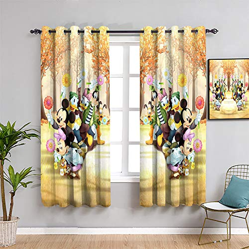 Mickey Minnie Mouse Black Out Window Curtain 2 Panel, Curtains 84 inch Length Mick-ey Mou-se Kids Room Decoration Easy to Clean W52 x L84 Inch