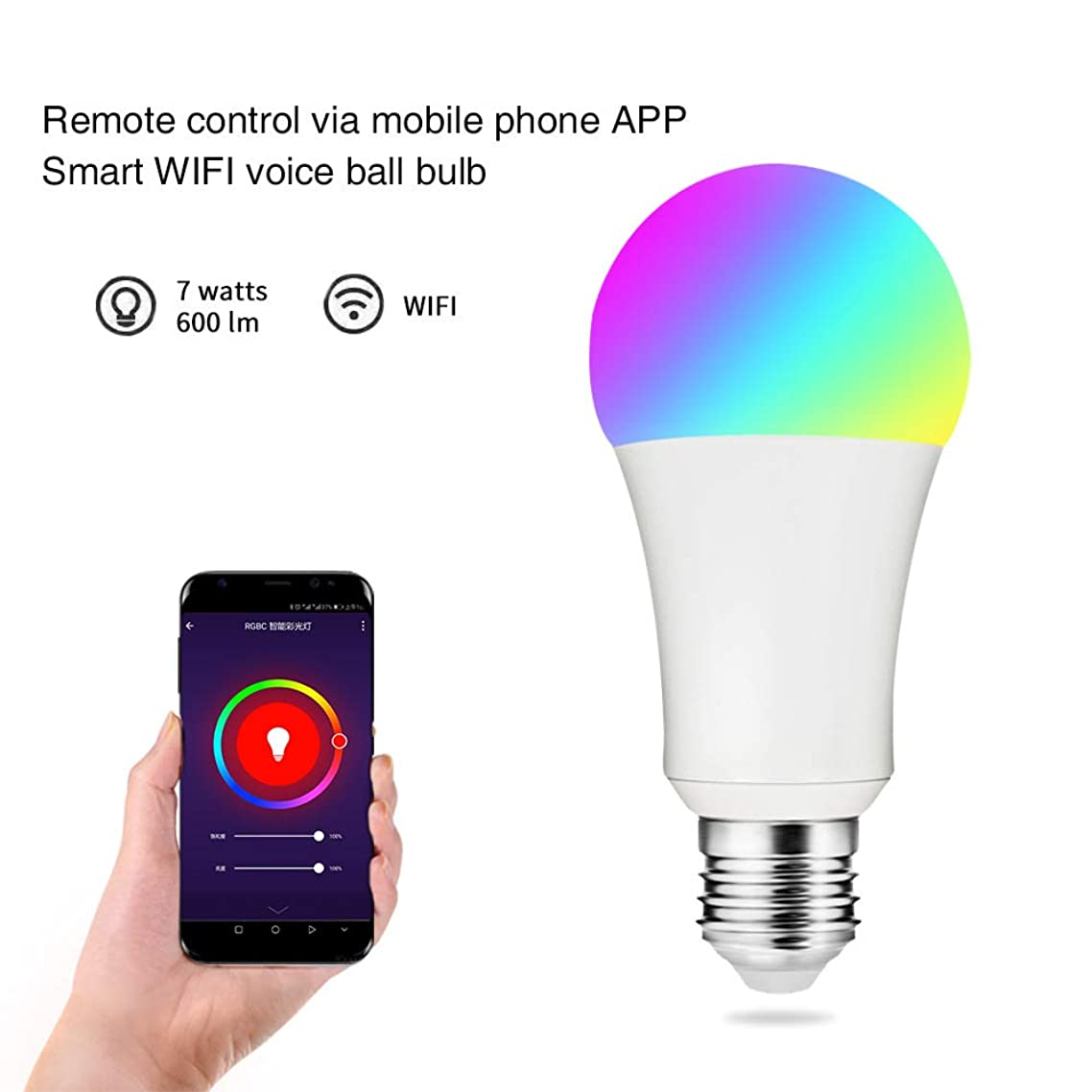 WiFi Smart Led Bulb Compatible with Alexa and Google Home, Dimmable RGB Smart Light Bulb, No Hub Required
