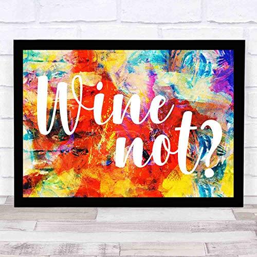 EaYanery Inspirational Wall Art - Vinilo decorativo para pared, diseño vintage con texto en inglés 'Wine Not Funny Wall' (35,5 x 27,9 cm)