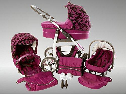 Chilly Kids Dino Kinderwagen Sommer-Set (Sonnenschirm, Autositz & Adapter, Regenschutz, Moskitonetz, Getränkehalter, Schwenkräder) 47 Lila Geflockte Blumen