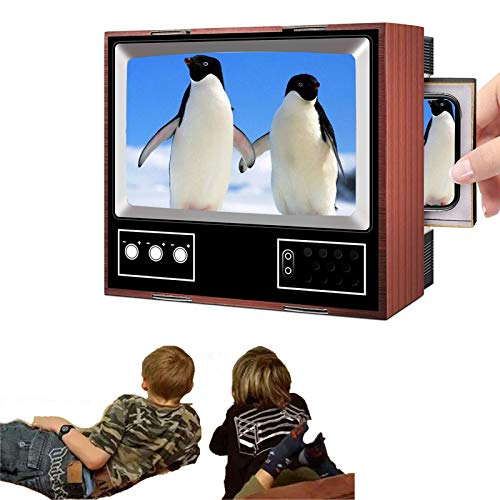 sdfa Retro TV Amplifier, DIY HD Video Screen Enlarger Amplifier Magnifier, Retro TV Phone Holder, 3D Vintage Smart Mobile Phone Mini Portable Television Stand