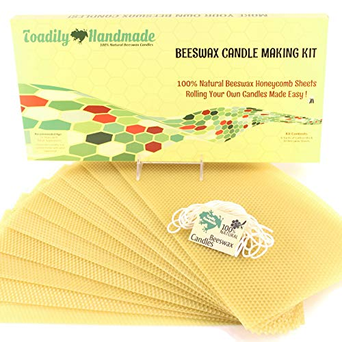 Make Your Own Beeswax Candle Kit - Includes 10 Full Size 100% Beeswax Honeycomb Sheets in Natural and Approx. 6 Yards (18 Feet) of Cotton Wick. Each Beeswax Sheet Measures Approx. 8' x 16 1/4'.