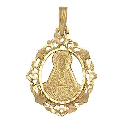 Minoplata Colgante Virgen del Rocío de Oro 18 KL. Calada, una Medalla Preciosa Ideal para Regalar a Mujeres devotas de Esta Imagen