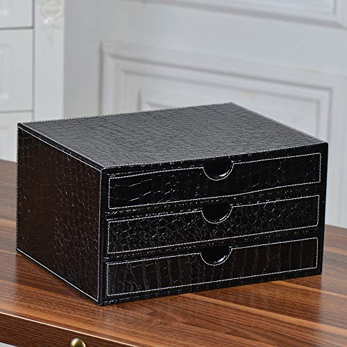 Black Bedside Table with 3 Chest of Drawers Leather Material Organizer Nightstand Side Table Storage Bedroom Storage Furniture 31.8 x 24 x 19.8cm (Color : Black)