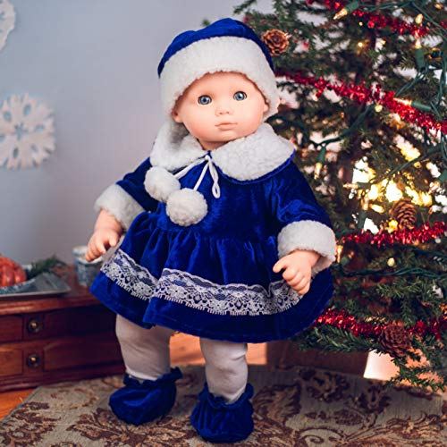 The Queens Treasures 15 Inch Complete Doll Clothes Compatible with American Girl Bitty Baby Bitty Twins, Blue Velvet Dress, Hat, Tights, Shoes