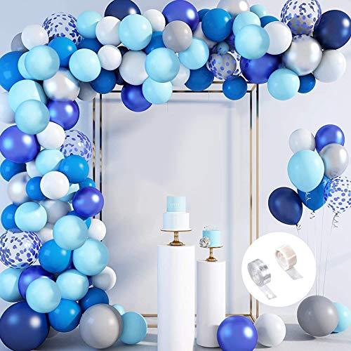 Sunshine smile Palloncini Ghirlanda Kit,Blu in Lattice Bianco e Blu Coriandoli,Palloncini Arco Kit per Compleanno Party Decorazioni,Colore Balloon Arch Kit(Blu)