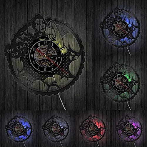 IANGL Girl Power We Can Do It Rivet Rossi Feminista Decoración del hogar Reloj de Pared Moderno Signo de protesta de Mujer Fuerte Reloj de Disco de Vinilo