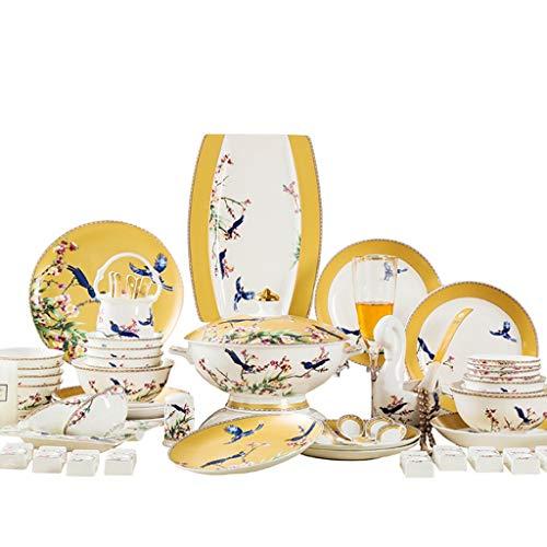 TWDYC Juego de vajillas de China de Hueso Conjunto de Platos de cerámica de 60 Piezas diseñada para Platos para el hogar de Estilo Europeo