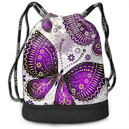 XCNGG Drawstring Backpack,Violet Gold Butterflies Print Sport Travel Gym Bundle Backpack Bag