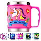 12 Oz Kids 304 Stainless Steel Unicorn Mug with Slider Closure Lid - Eco-Friendly - BPA Free - by F-32 Signature Collection (Unicorn Pink)