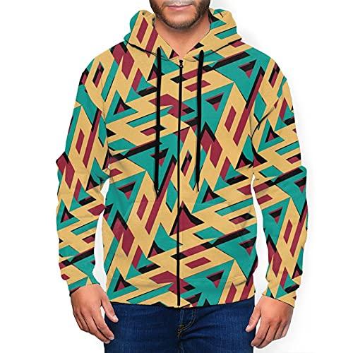 Sudadera con capucha para hombre con capucha y patrón azteca con capucha 3d estampado chaqueta con cremallera