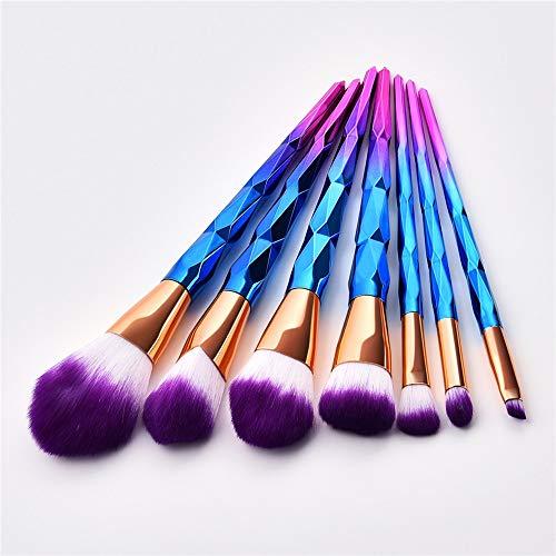 LSWL Maquillage diamant professionnelle Pinceaux Fondation Blending Ombres à paupières Contour fard à joues brosse cosmétiques Beauté maquillage Outils (Color : Blue)