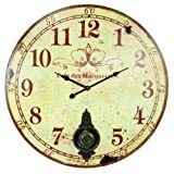 Large 23' Wall Clock with Pendulum ~ Antique French Provincial Style