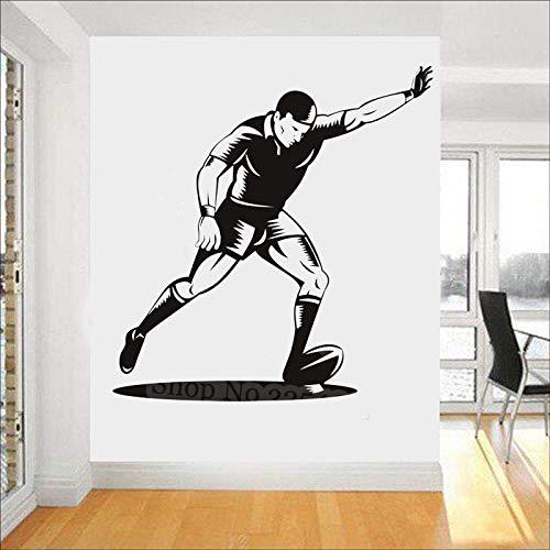 Rugby-Ball mit Spieler Ziel Kick Rugby Wandaufkleber Fitnessstudio Sport Deko Kunst Aufkleber Junge Zimmer Home Decoration Tapete 48X50CM