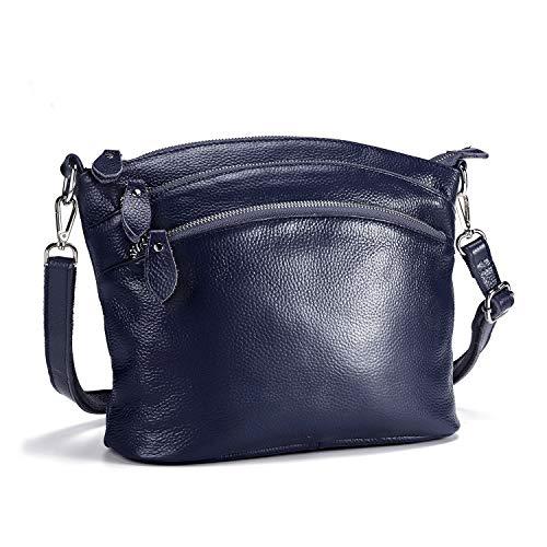 Lecxci Genuine Leather Cross Body Purses Zipper Wallets Shoulder Bags for Women (4 Zipper Pockets - Dark Blue)