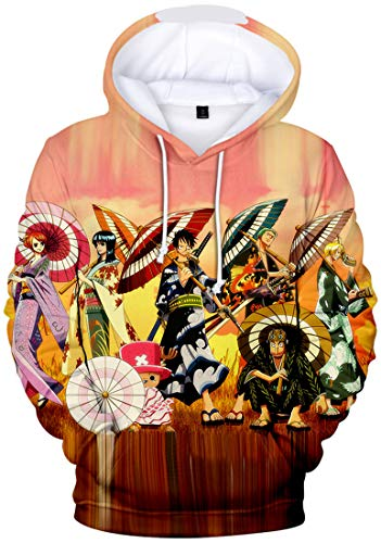 bettydom Men's Novelty Hoodies with The Japanese Anime One Piece Luffy Sweatshirt(XL,Color Umbrellas-1)