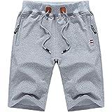 iEndyCn ハーフパンツ メンズ 半ズボン 短パン 半パンツ 無地 5分丈 大きいサイズ カジュアル (ライトグレー,M)
