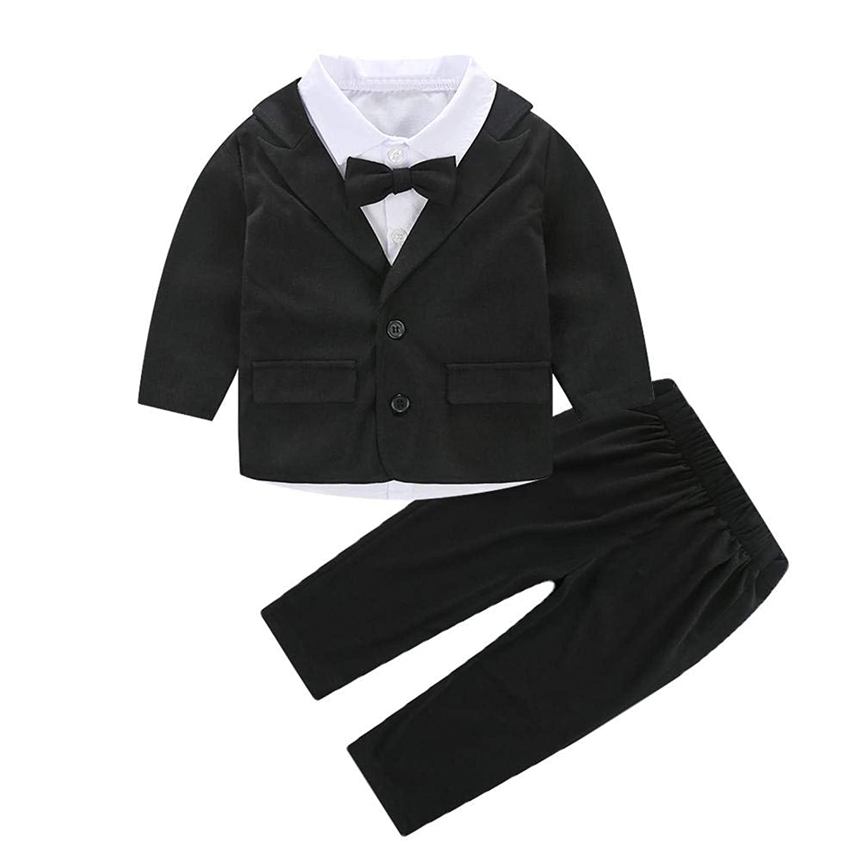 Domybest ベビー紳士服 男の子 スーツ 子供服 アウター 3点入り シャツ コート ズボン かっこいい 写真 パーティー 発表会