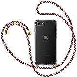 Funda con Cuerda para Apple iPhone 7/ iPhone 8/ iPhone SE 2020, Carcasa Transparente TPU Suave Silicona Case con Correa Colgante Ajustable Collar Correa de Cuello Cadena Cordón - Rojo