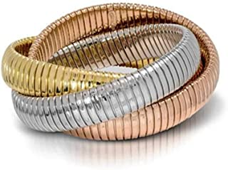 Triple Strand Flex Bracelet - 18K Gold Plating Over Sterling Silver