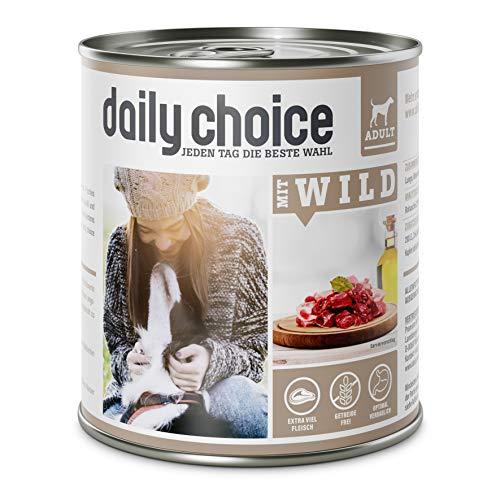daily choice - 6 x 800 g - Nassfutter für Hunde - getreidefrei - Mit Wild - 70% Frischfleisch- und Innereienanteil Optimale Verträglichkeit