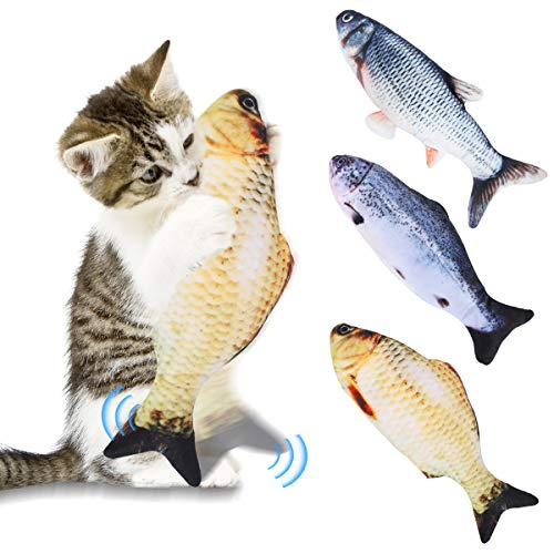 Petyoung Cat Catnip Giocattoli Simulazione Pesce Bambola Elettrica Realistici Animali Interattivi in Peluche Masticano Forniture per Morsi per Gatto/Gattino Flop Pesce Giocattolo per Gatti