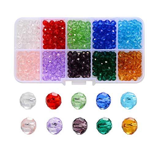 Perline Cristallo Sfaccettato,1000 pezzi 4mm x 3,5mm Colorate Perline di Cristalli di Vetro Sfaccettate Accessori per Braccialetti Collane Gioielli e Artigianato Fai da Te,10 Colori