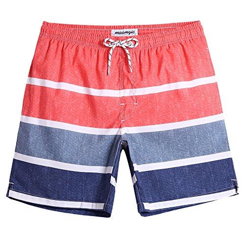 MaaMgic Badehose für Herren Jungen Badeshorts für Männer Schnelltrocknend Surfen Strandhose Surf Shorts mit Mash-Innenfutter MEHRWEG Jeansblau Orange XL