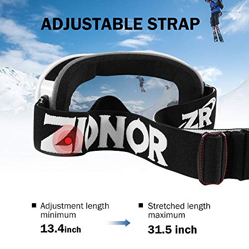 ZIONOR Lagopus Ski Snowboard Goggles UV Protection Anti Fog Snow Goggles for Men Women Youth VLT 8.6% White Frame Silver Lens
