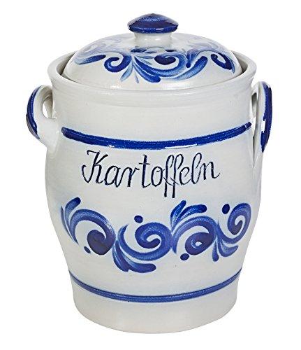 vivApollo Kartoffeltopf mit Keramikdeckel Vorradsdose Original westerwälter Kannenbäckerland salzglasierte Steinzeug Keramik (onezize, geblaut)