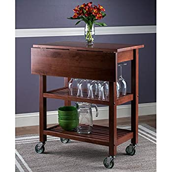 Expandable Wooden Kitchen Cart Collapsible Utility Carts on Wheels Rolling Butcher Block Cart Origami Foldable Kitchen Island Cart Foldable Chopping Board Cart Made of Natural Wood