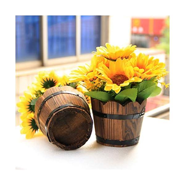 Flikool 13 Cabezas Girasol Artificial con Jarrón Flores Decorativas de Seda Plantas Artificiales en Barril de Madera…