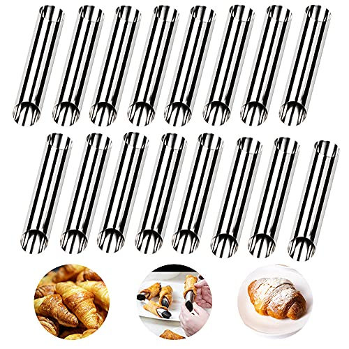 Cannoli Tubes Molds,Stainless Steel Cream Horn Molds for cannoli mold Cream Roll Balking Tubes, Cream Roll ,Diagonal Shaped,Pack of 16(APFFSY )