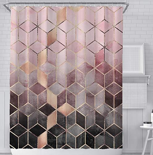 SCVBLJS Rosa Graue Raute Duschvorhang Schimmelpilzbeständige Badezimmervorhänge Wasserdicht Mit 12 Haken, 3D Waschbares Polyester (180X200Cm)